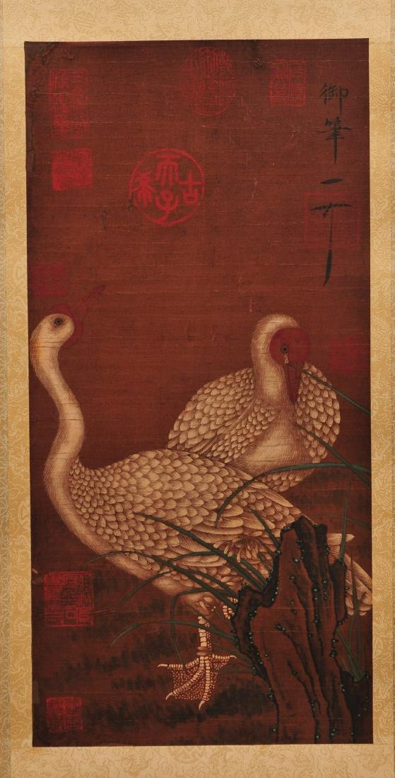 Antique Chinese ink and color painting on silk