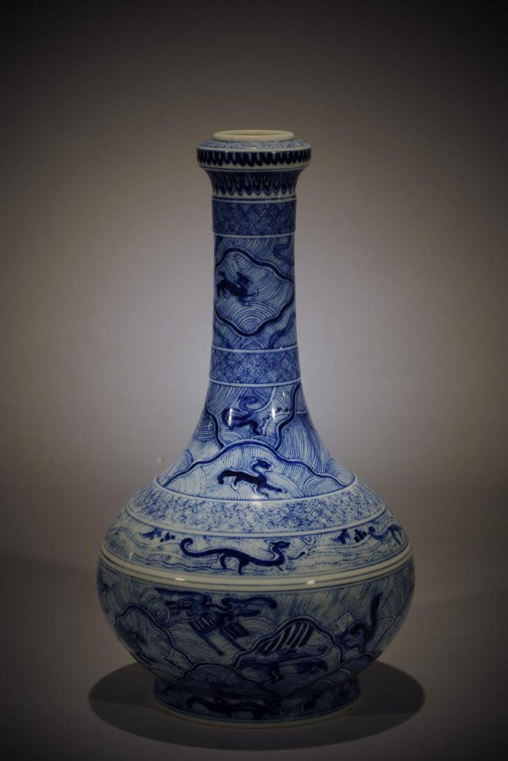 Antique Chinese blue and white porcelain bottle