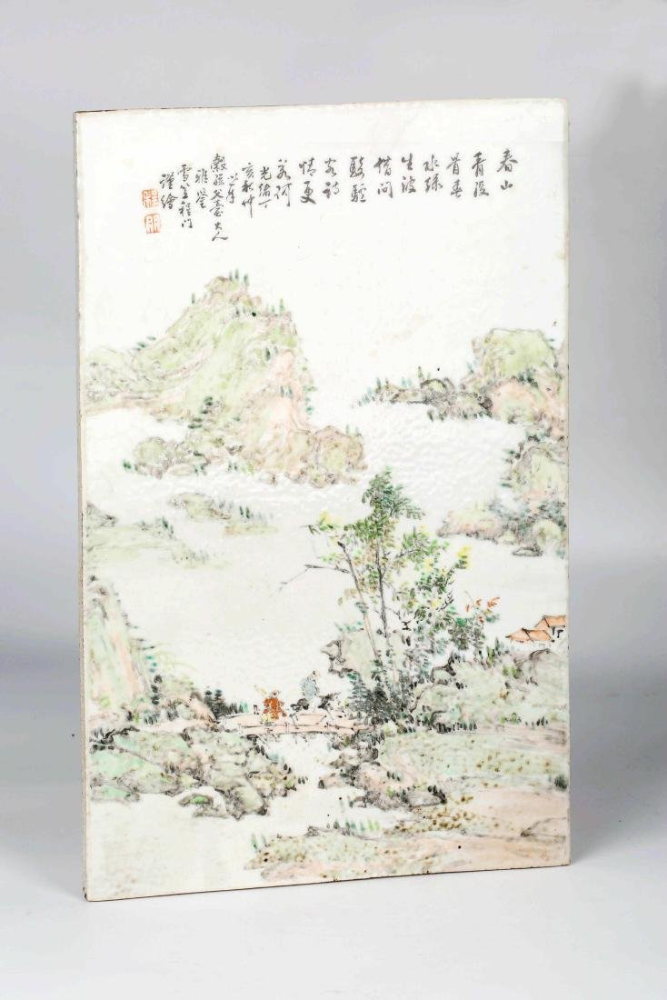 Chinese Famille  rose porcelain landscape Vitrolite