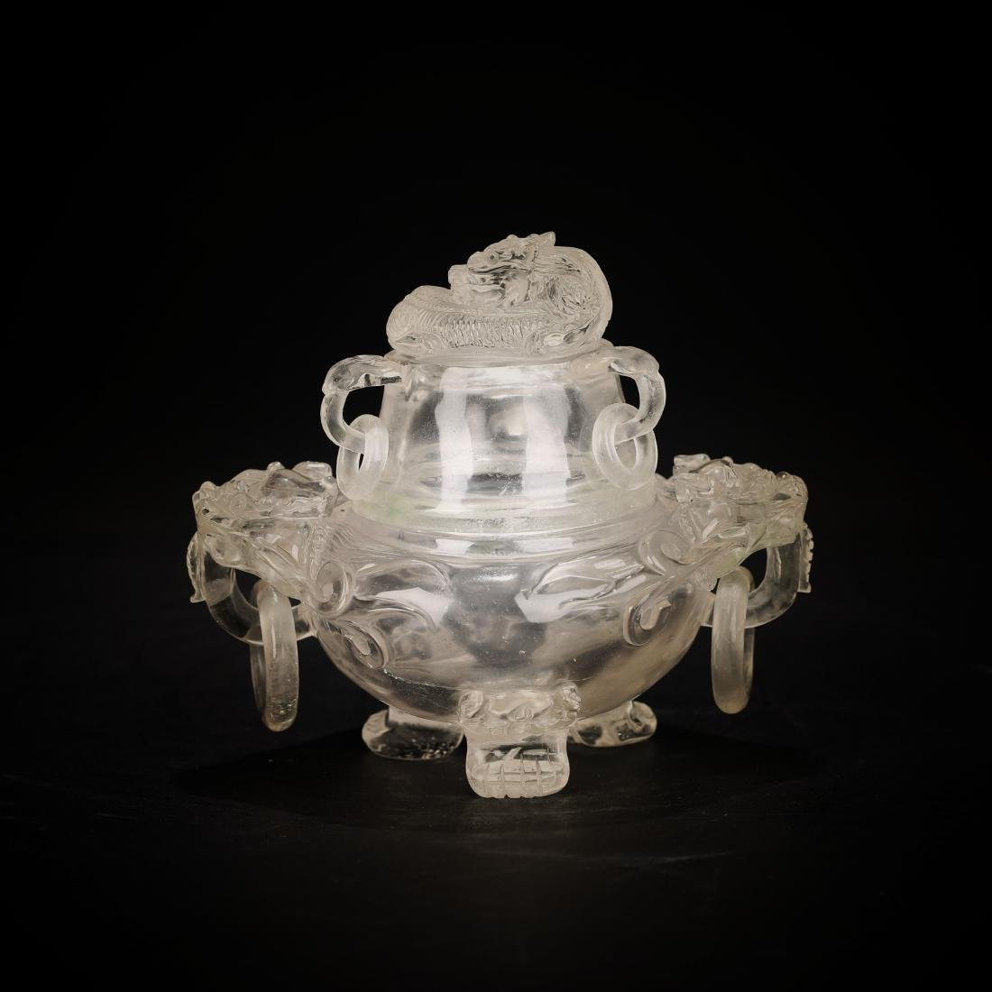 Antique Chinese Crystal monster ear furnace