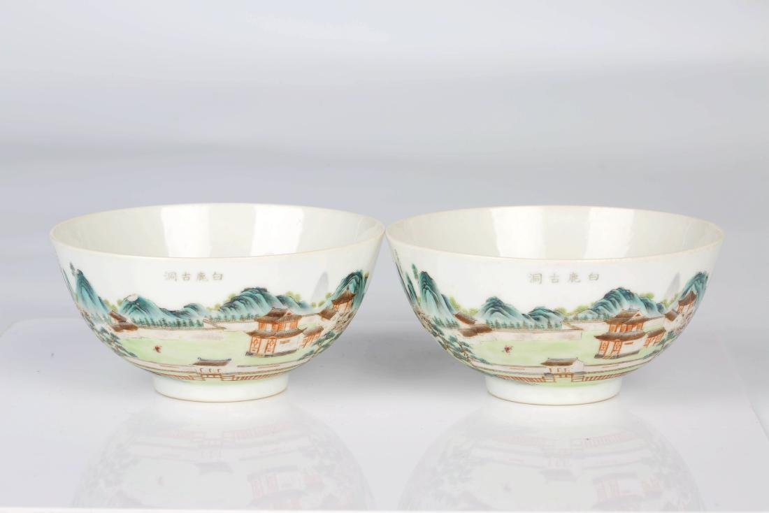 A  pair of the Chinese Famille  rose porcelain bowl