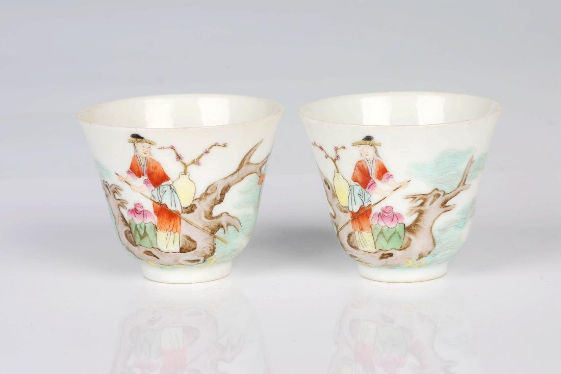 A pair of Chinese famille rose porcelain character cups