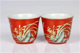 Chinese coral glaze Famille rose porcelain cups