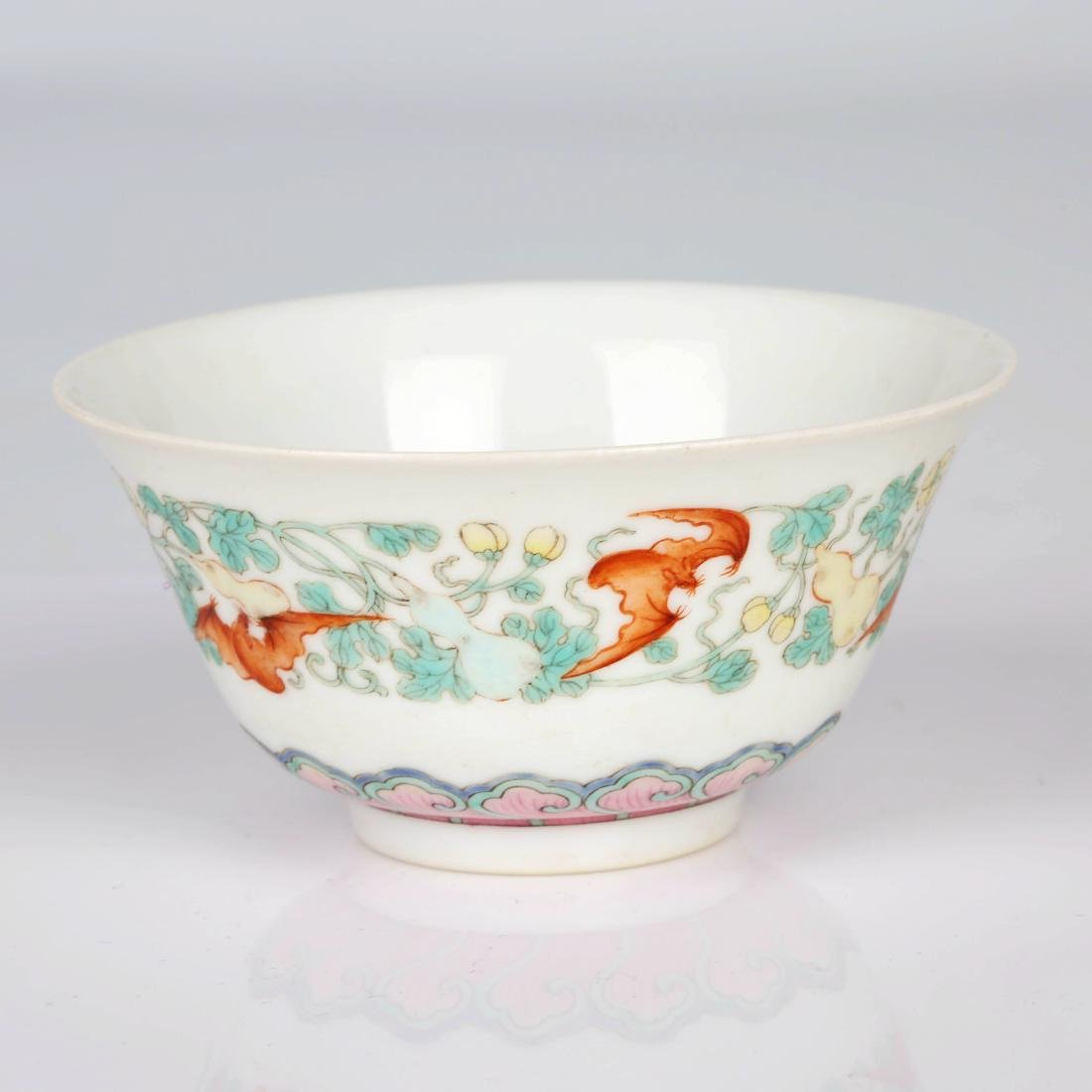 Chinese famille rose porcelain blessing stripe cup