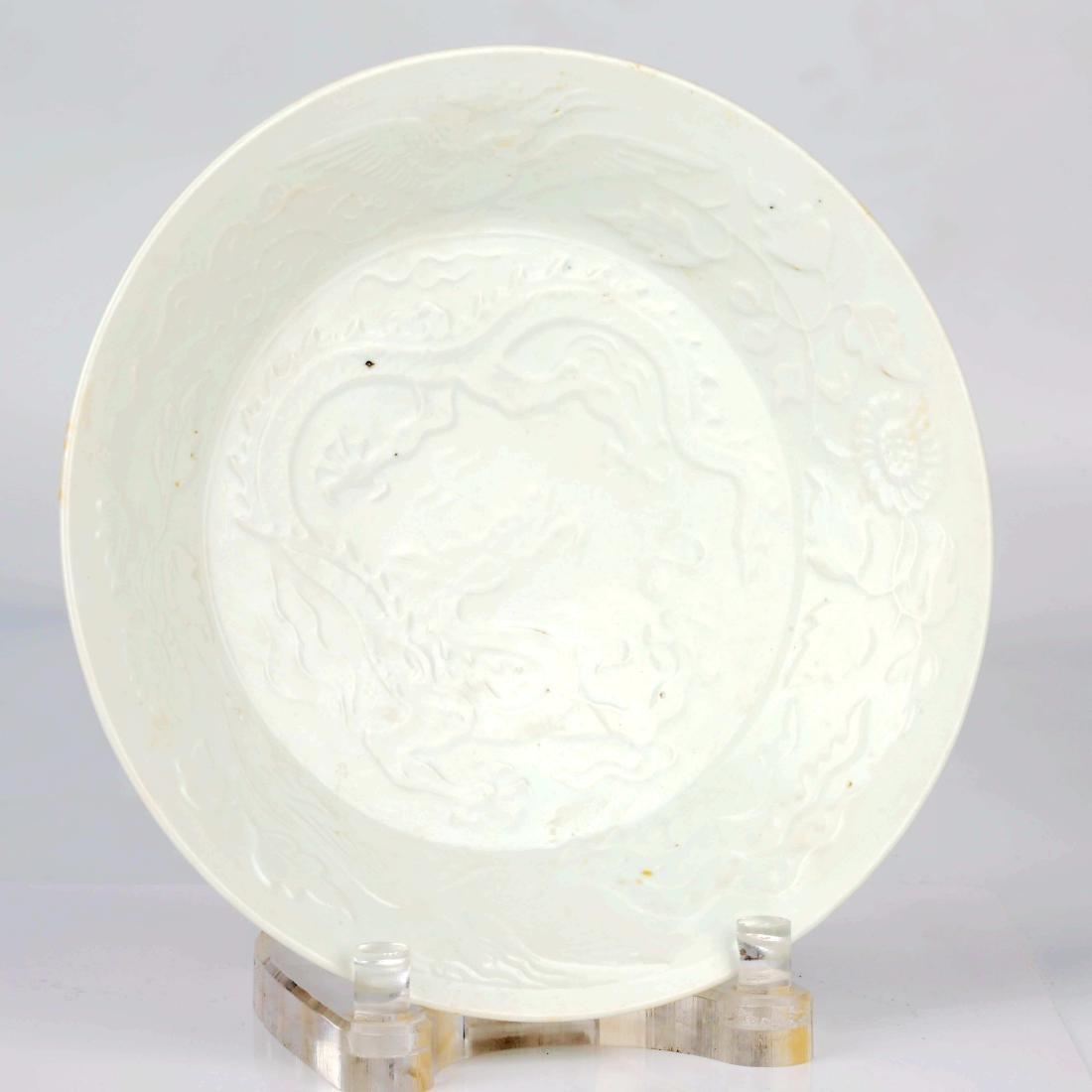 Chinese white glaze dragon design plate