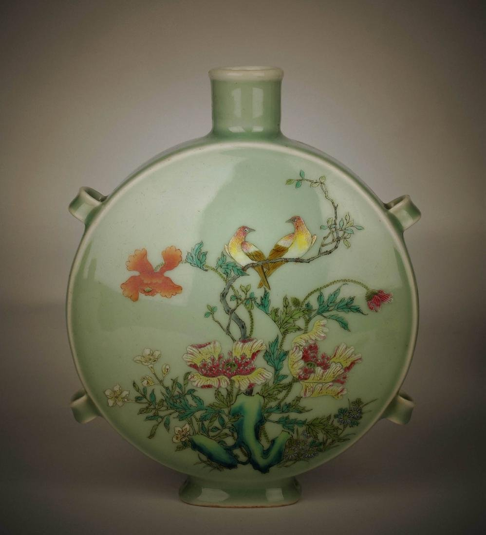 Chinese pea green glaze Famille rose porcelain vase