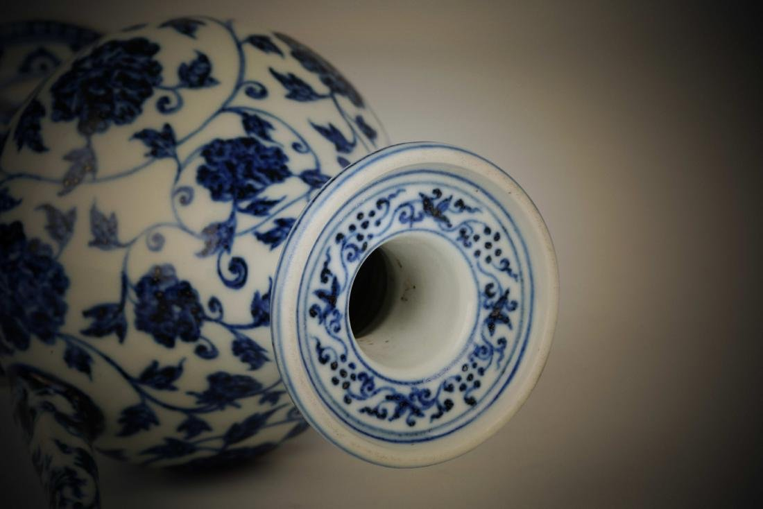 Chinese blue and white porcelain floral print pot - 7
