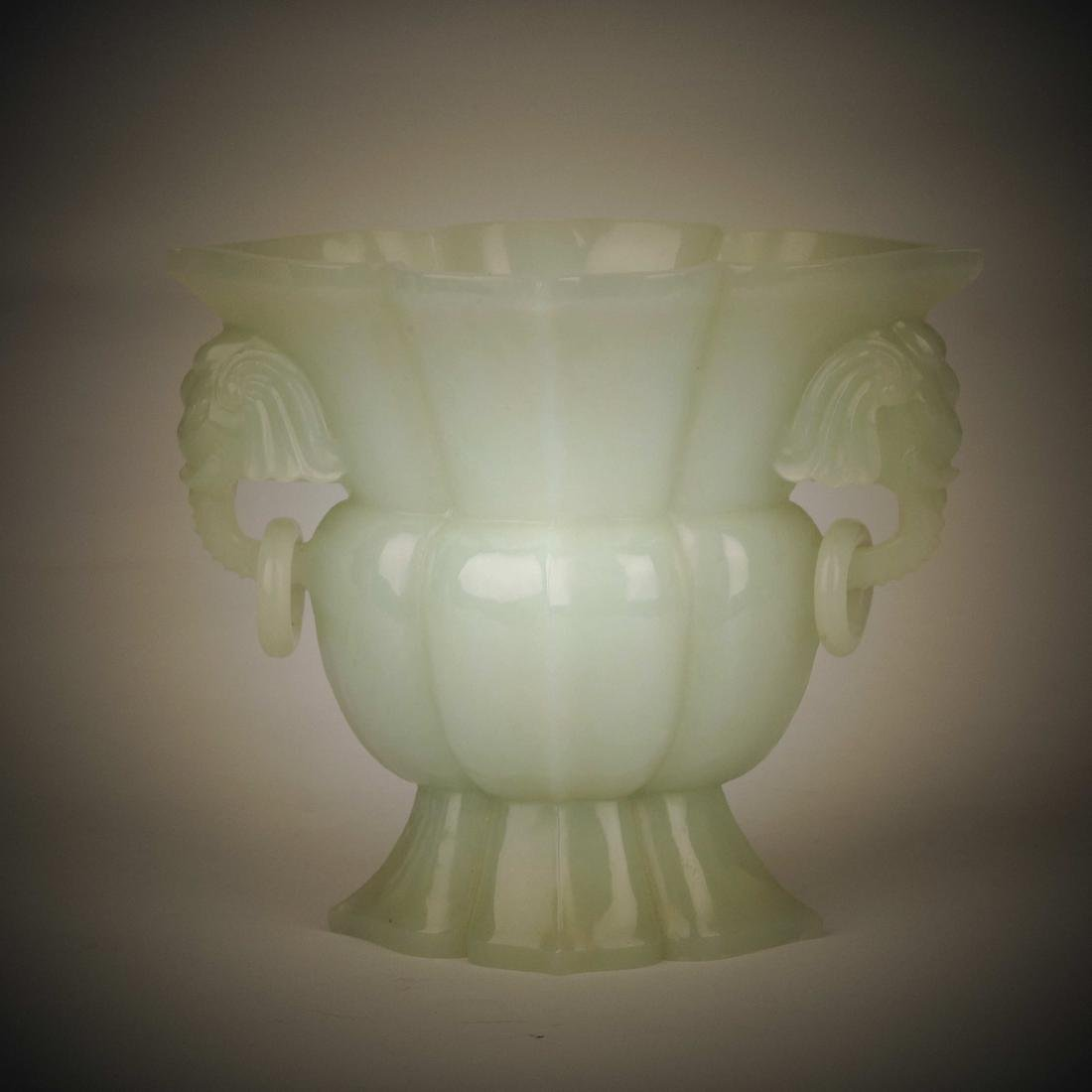 Chinese Hetian white jade bottle