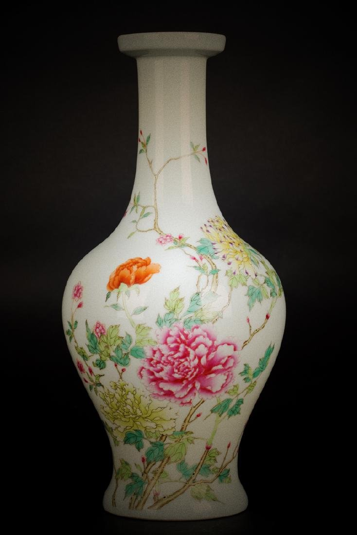 Chinese Yongzheng Famille rose olive vase