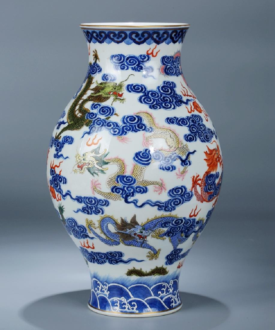 Chinese blue and white porcelain Famille rose vase