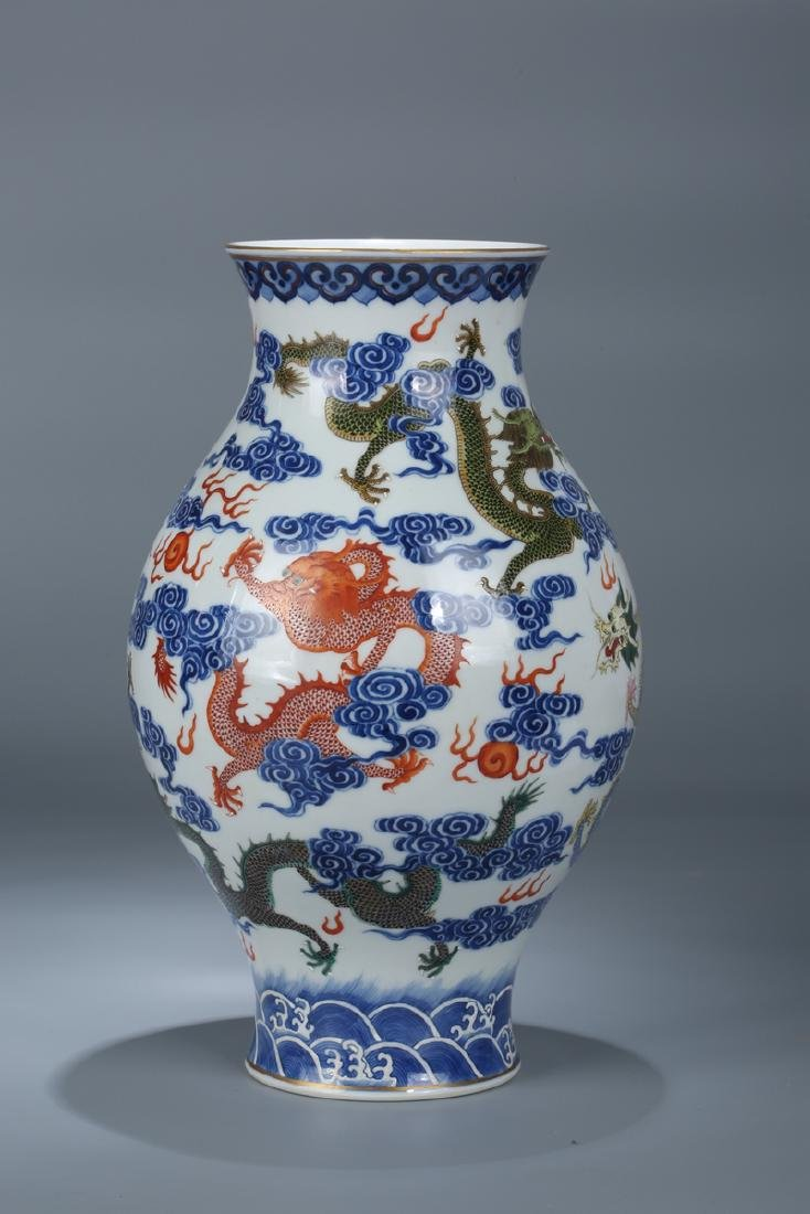 Chinese blue and white porcelain Famille rose vase - 2