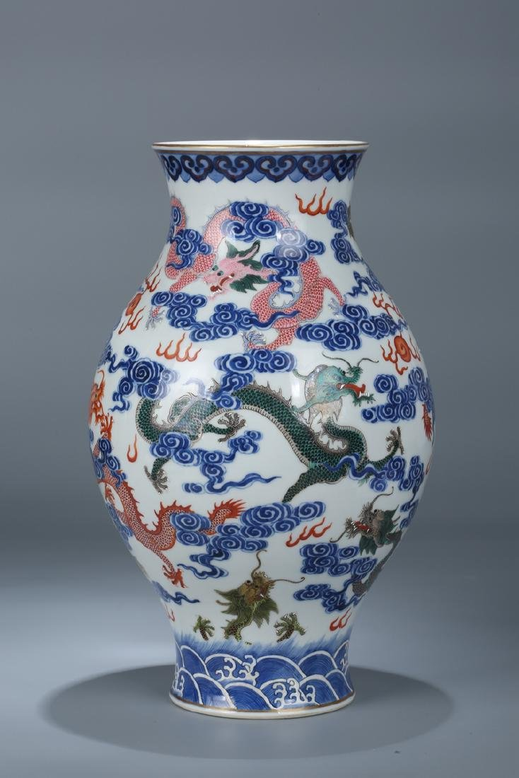 Chinese blue and white porcelain Famille rose vase - 3