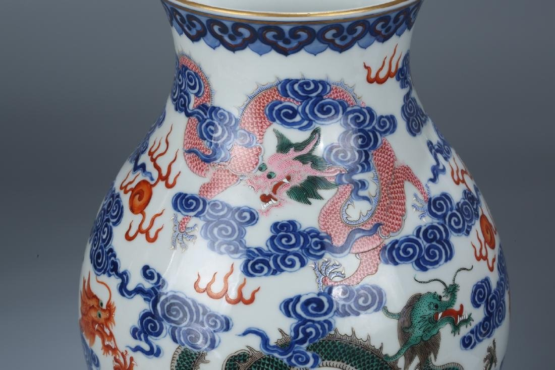 Chinese blue and white porcelain Famille rose vase - 8