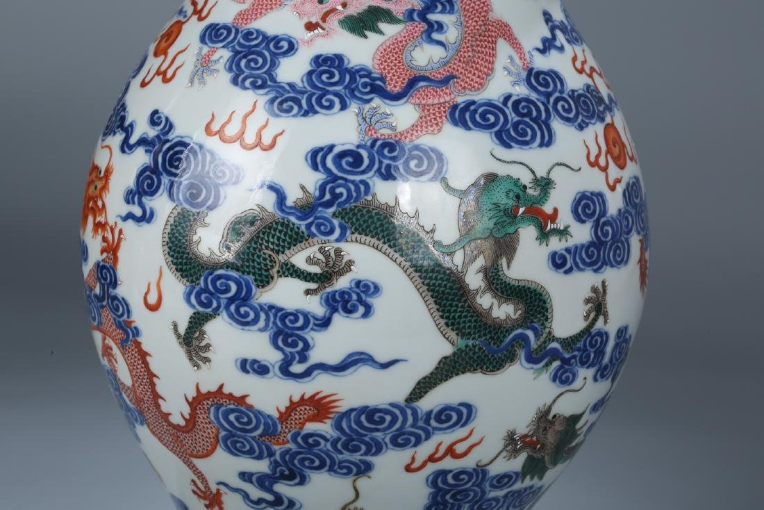 Chinese blue and white porcelain Famille rose vase - 9