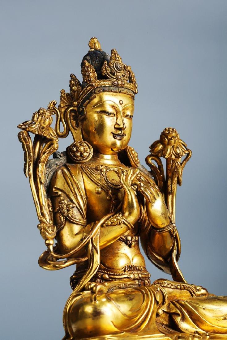 Chinese Copper  Figure of  Wen Shu Buddha with Gilding - 10