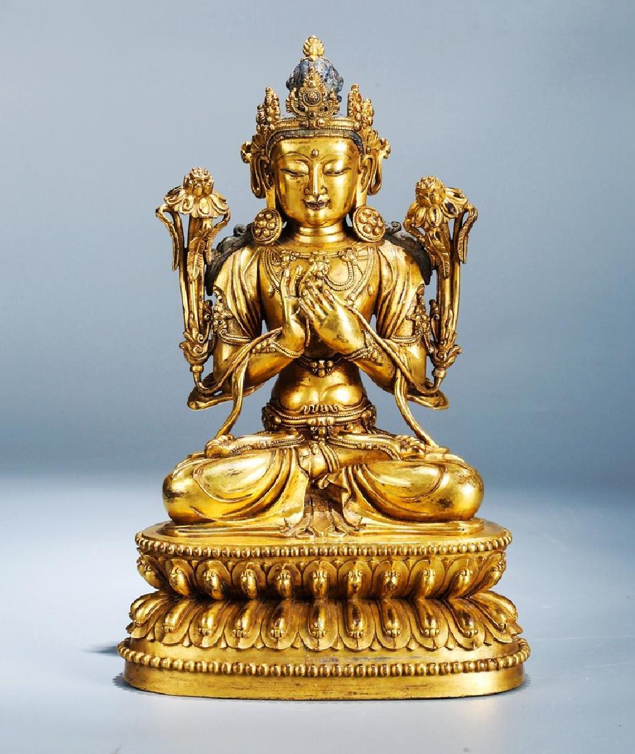 Chinese Copper  Figure of  Wen Shu Buddha with Gilding