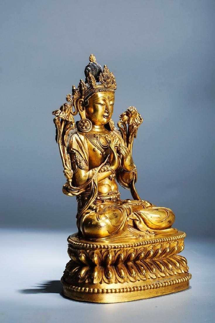 Chinese Copper  Figure of  Wen Shu Buddha with Gilding - 2