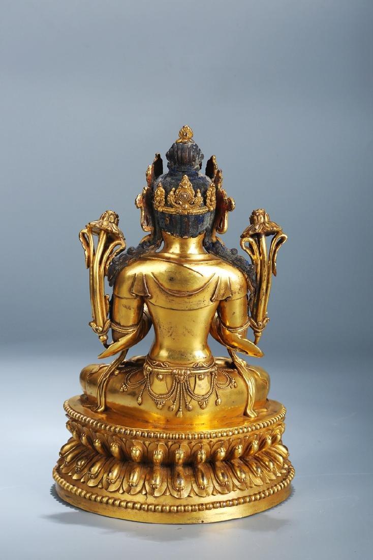 Chinese Copper  Figure of  Wen Shu Buddha with Gilding - 4