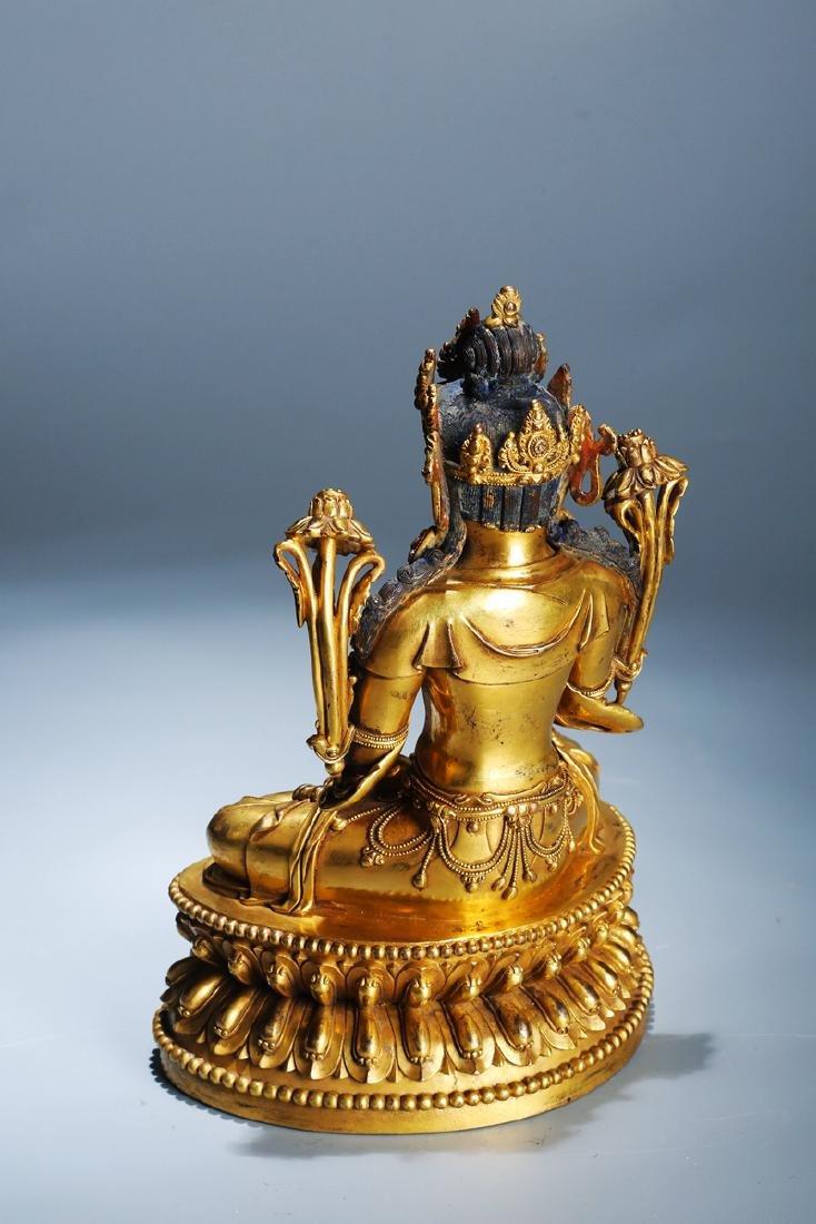 Chinese Copper  Figure of  Wen Shu Buddha with Gilding - 5