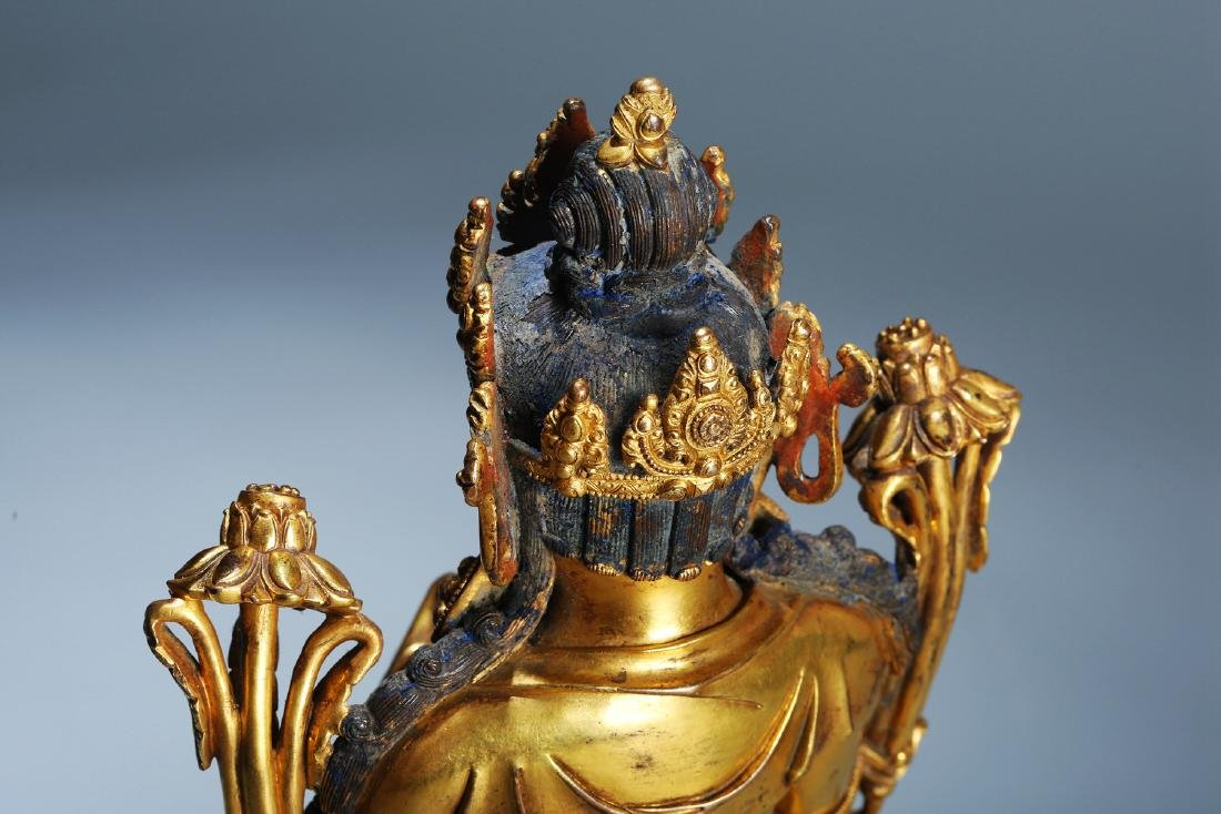 Chinese Copper  Figure of  Wen Shu Buddha with Gilding - 6