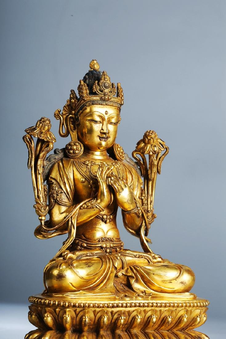 Chinese Copper  Figure of  Wen Shu Buddha with Gilding - 9