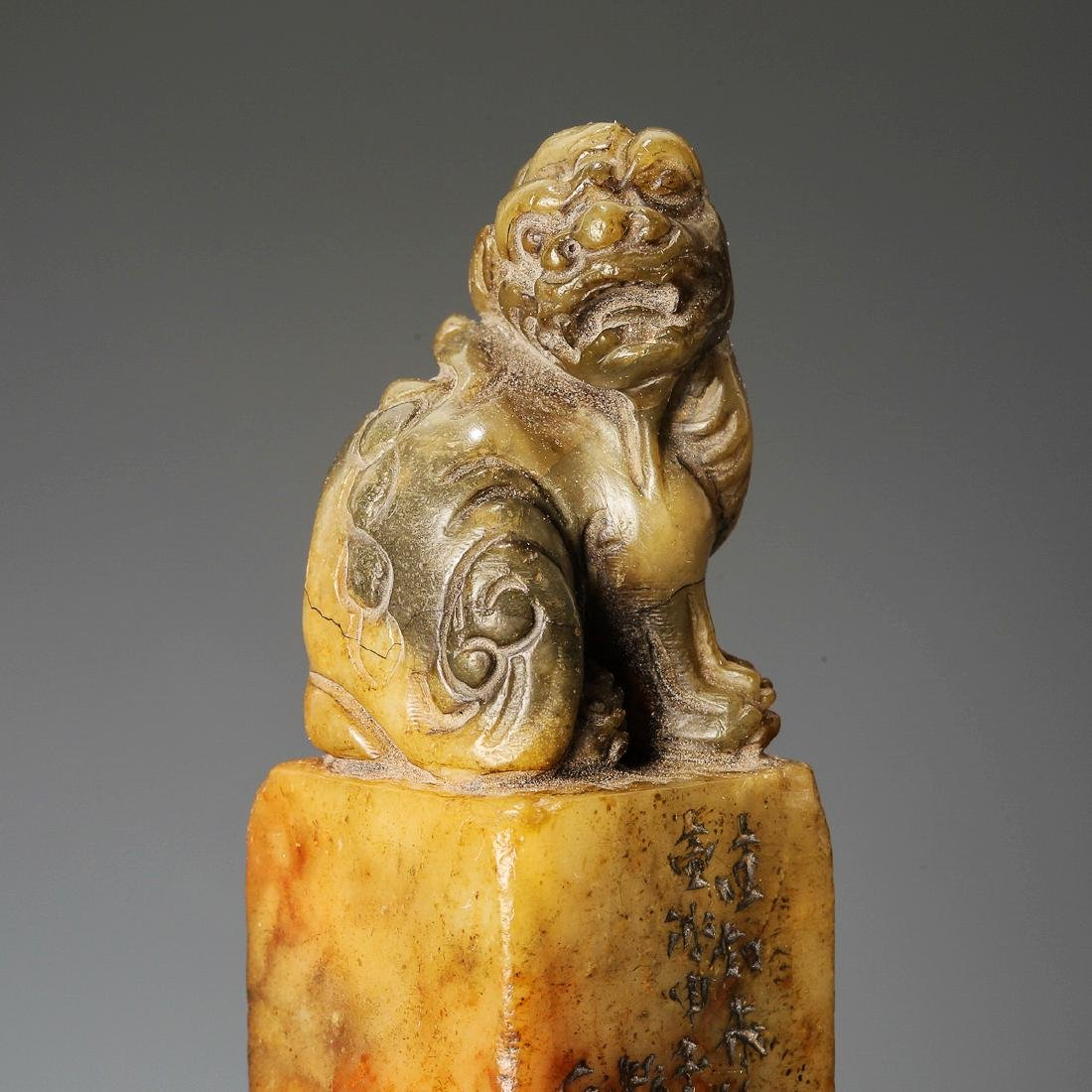 Qing Dynasty, A Lion Hand-Carved Shoushan Stone Seal - 6