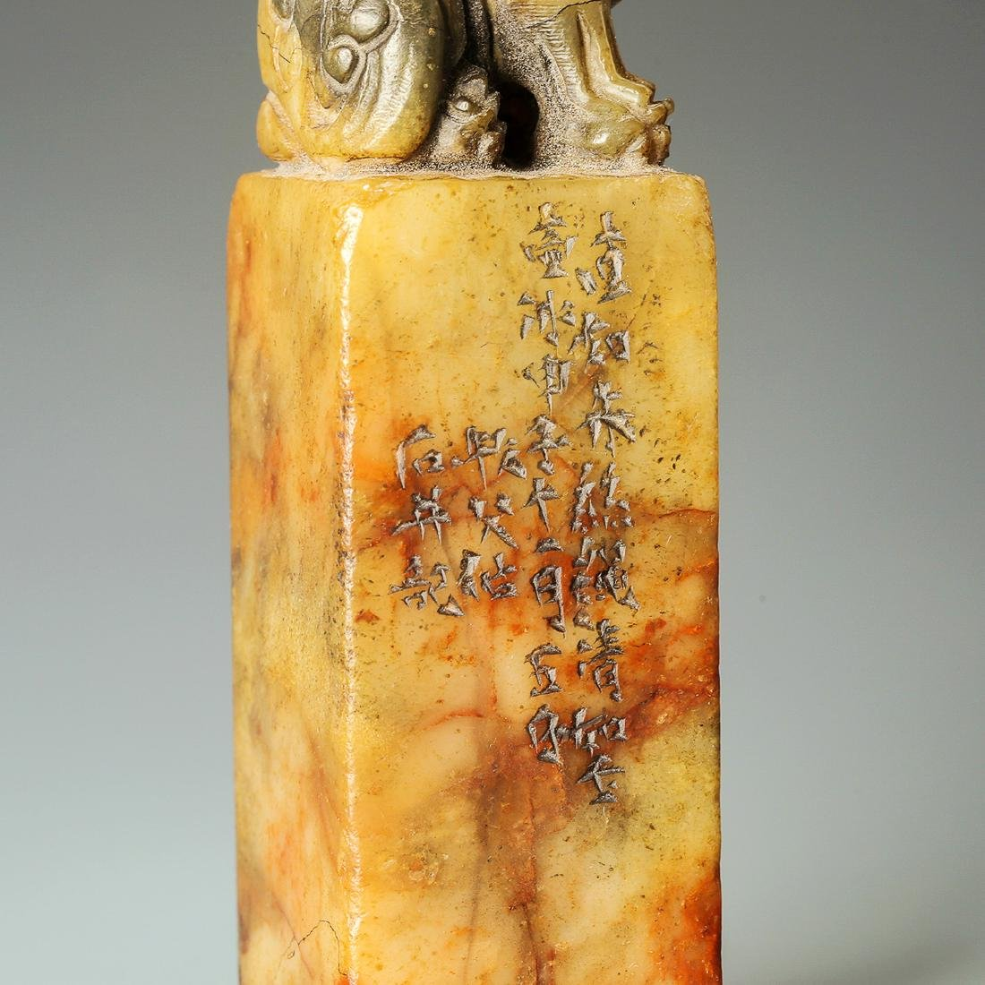 Qing Dynasty, A Lion Hand-Carved Shoushan Stone Seal - 7