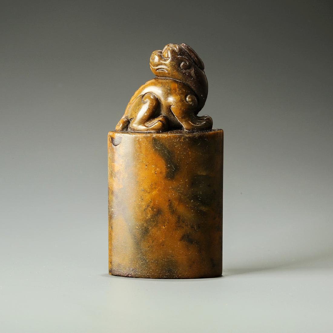 Qing Dynasty, A Lion Hand-Carved Shoushan Stone Seal - 2