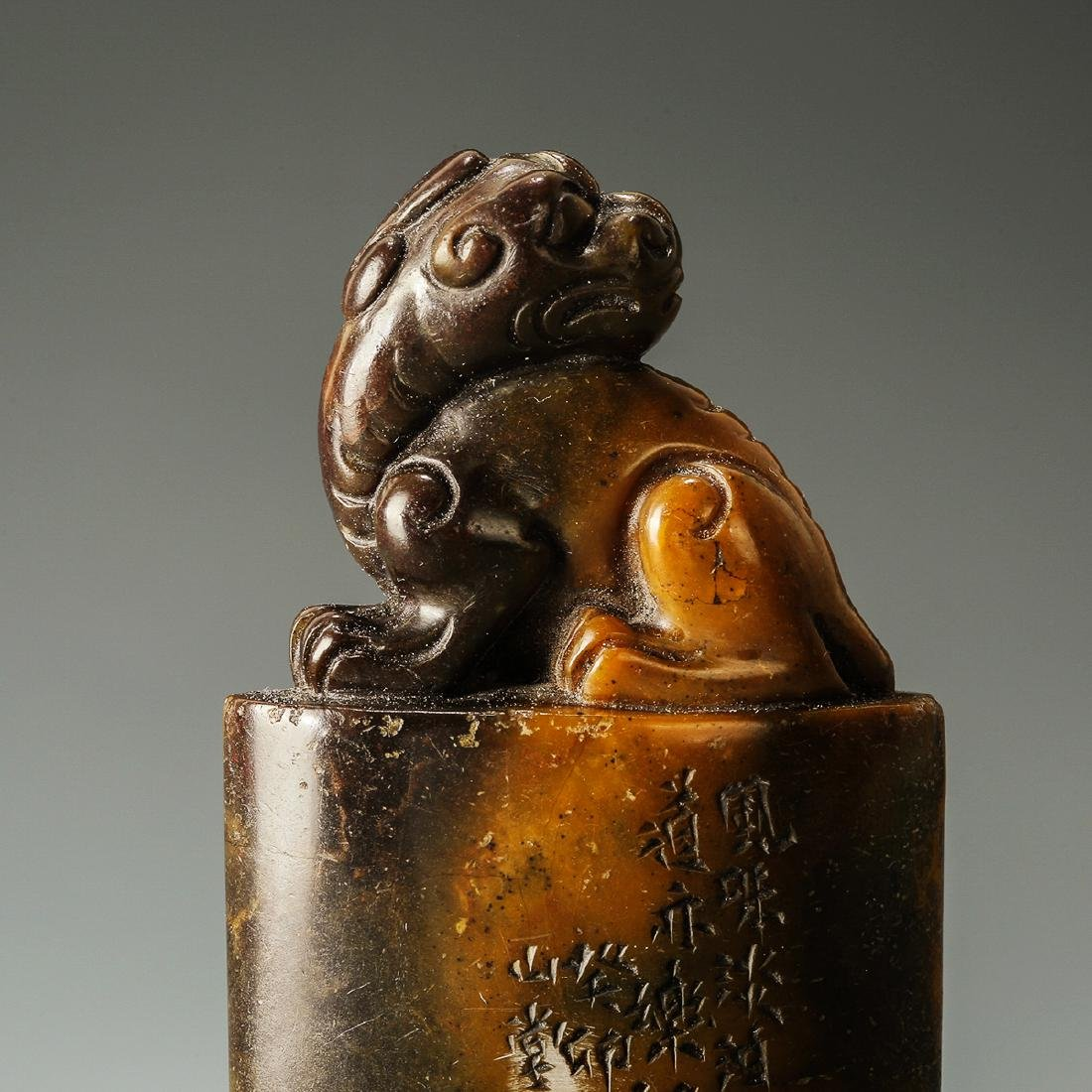 Qing Dynasty, A Lion Hand-Carved Shoushan Stone Seal - 4