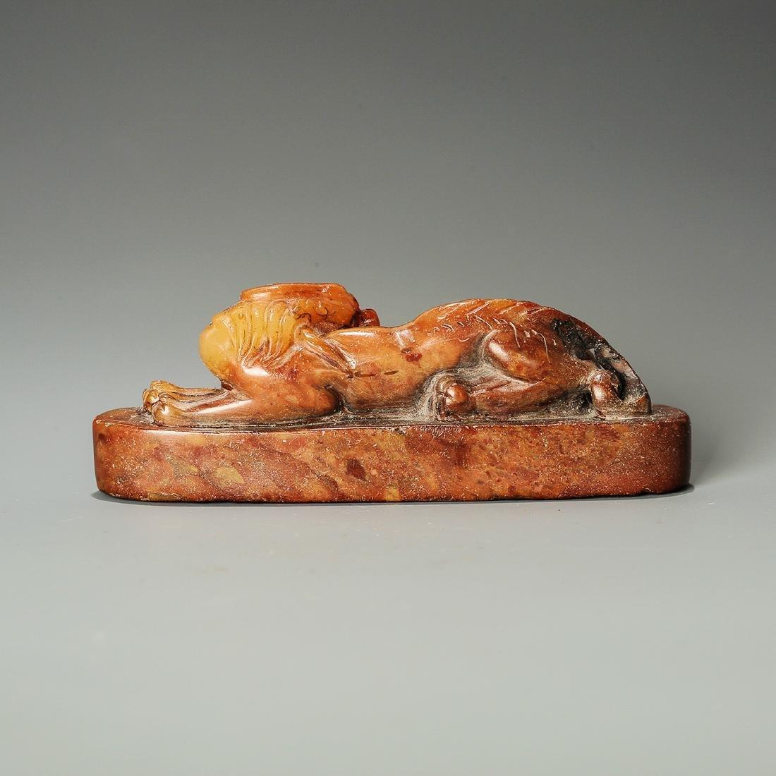 Qing Dynasty, A Qilin Hand-Carved Shoushan Stone Seal - 2