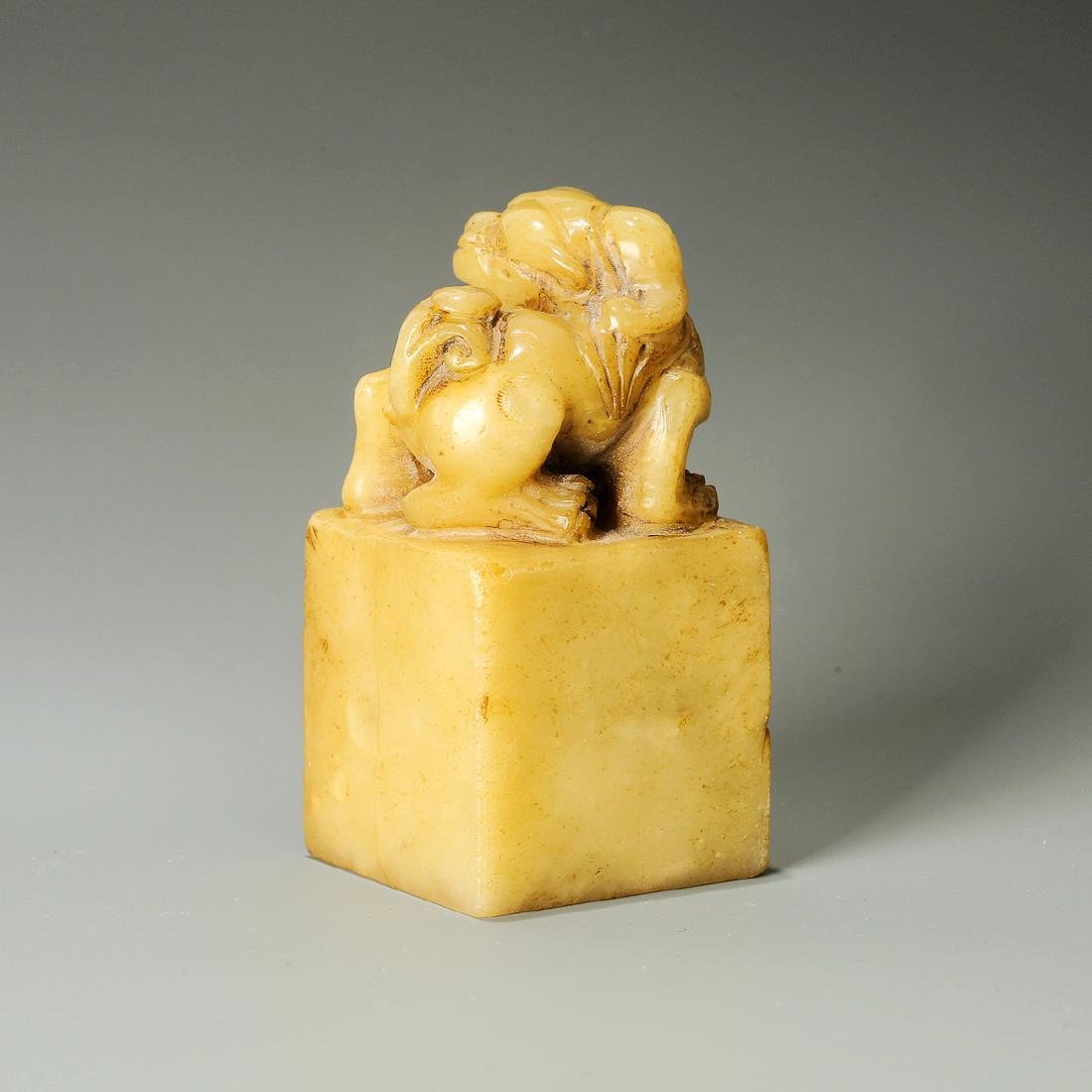 Qing Dynasty, A Lion Hand-Carved Shoushan Stone Seal - 3
