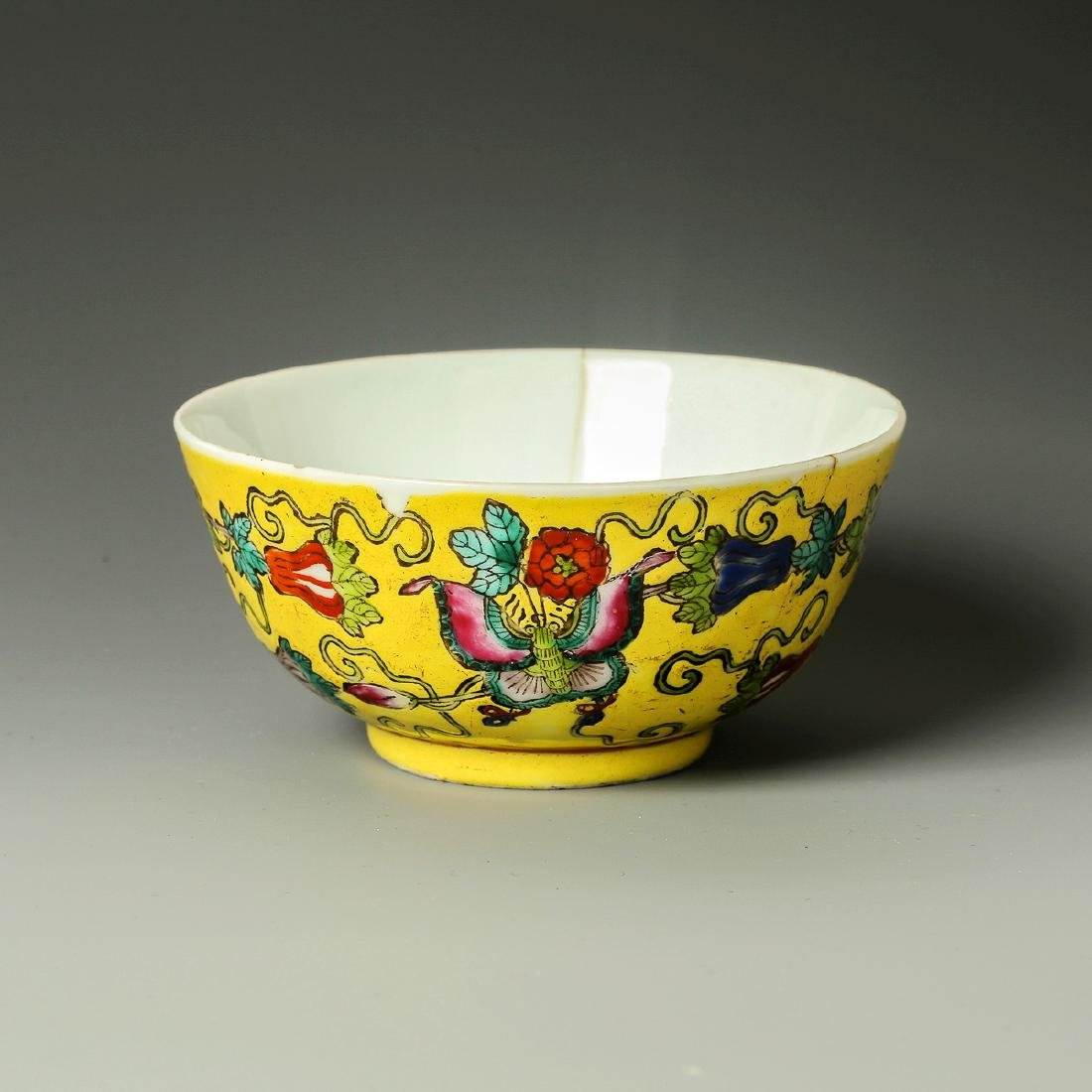 Old Chinese Yellow Crane Panting Bowl