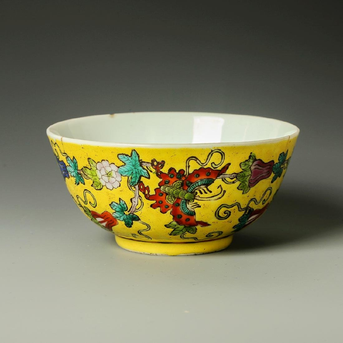 Old Chinese Yellow Crane Panting Bowl - 2