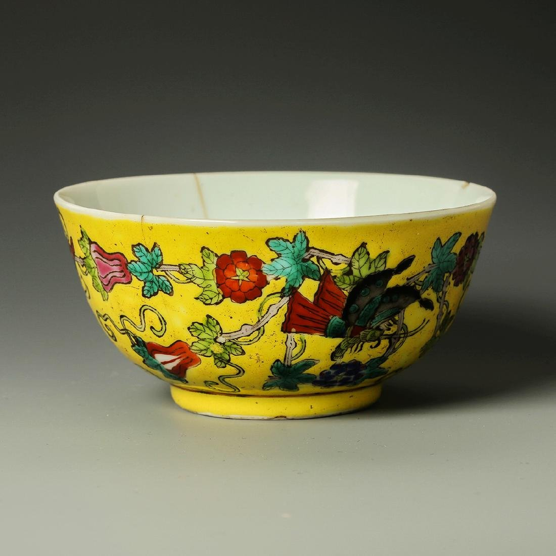 Old Chinese Yellow Crane Panting Bowl - 3