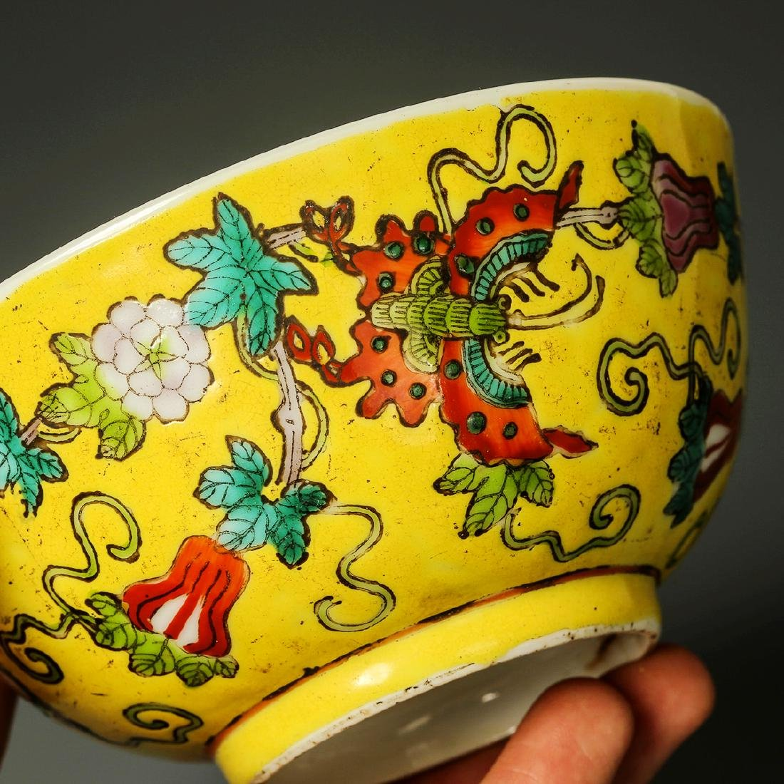 Old Chinese Yellow Crane Panting Bowl - 6