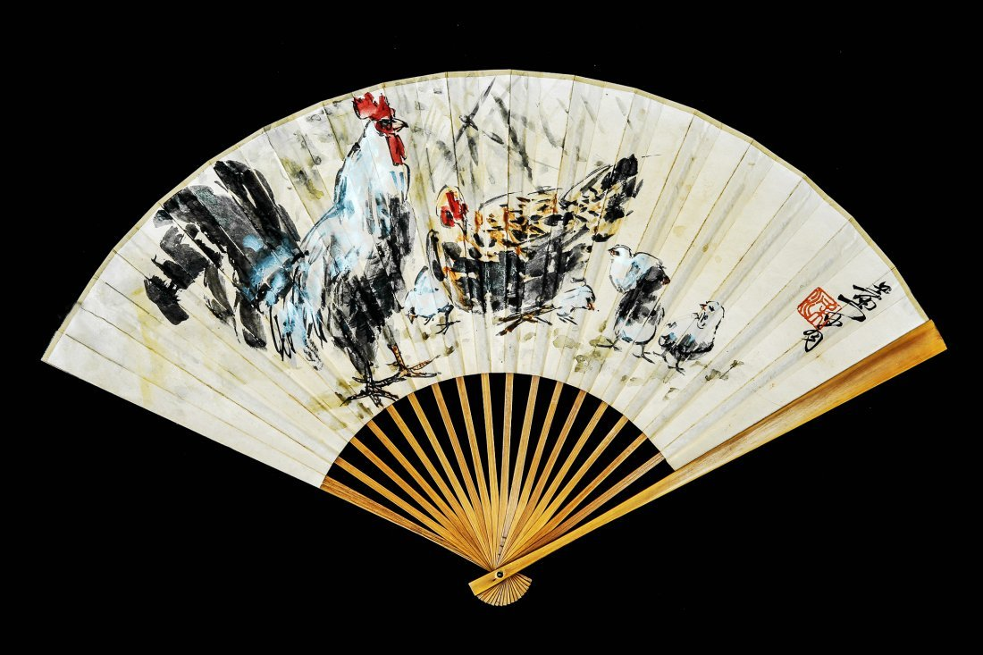 A Chinese Ink and Color Fan Painting, Huang Zhou