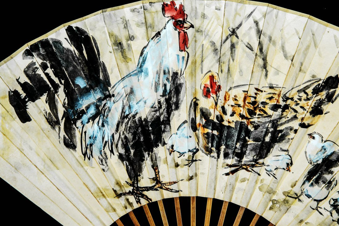 A Chinese Ink and Color Fan Painting, Huang Zhou - 2
