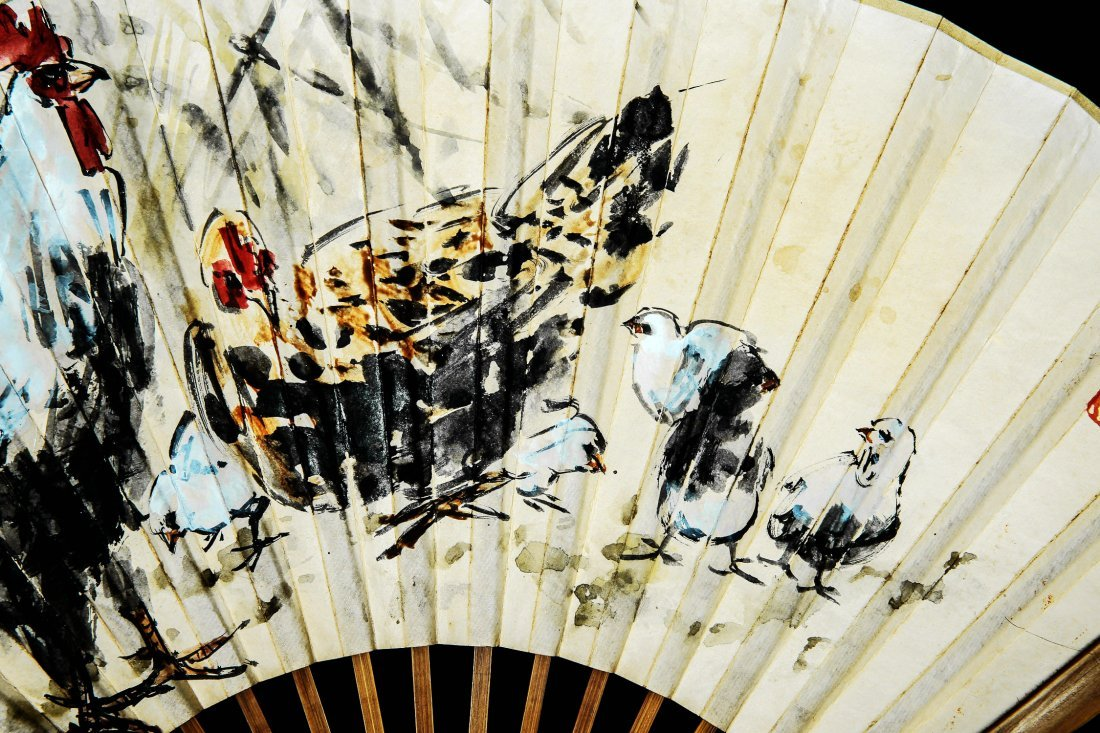 A Chinese Ink and Color Fan Painting, Huang Zhou - 3