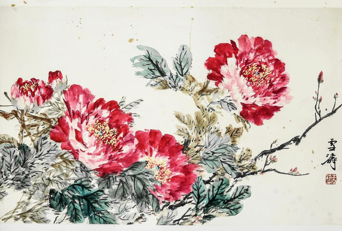 A Chinese Ink and Color Scrolling Painting, Wang Xuetao