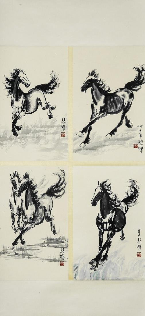 A Chinese Ink and Color Scrolling Painting Xu Beihong