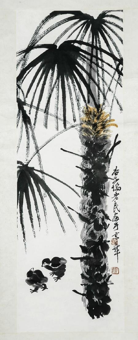 A Chinese Ink and Color Scrolling Painting, Qi Baishi