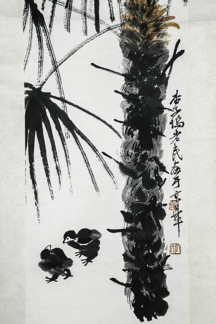 A Chinese Ink and Color Scrolling Painting, Qi Baishi - 4