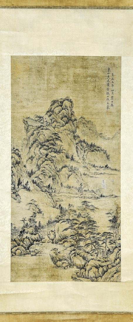 A Chinese Ink and Color Scrolling Painting, Wang Meng