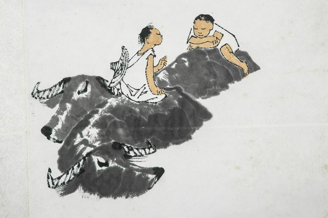 A Chinese Ink and Color Scrolling Painting, Li Keran - 3