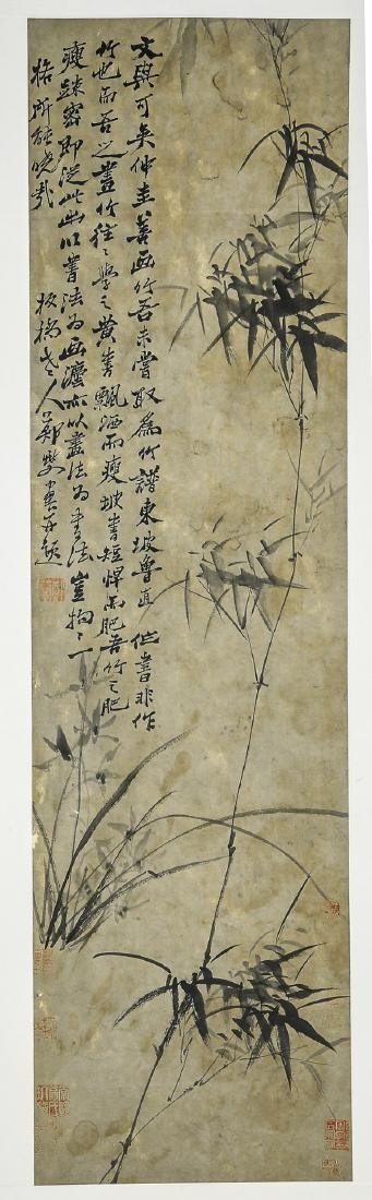 A Chinese Ink and Color Scrolling Painting Zheng Banqia
