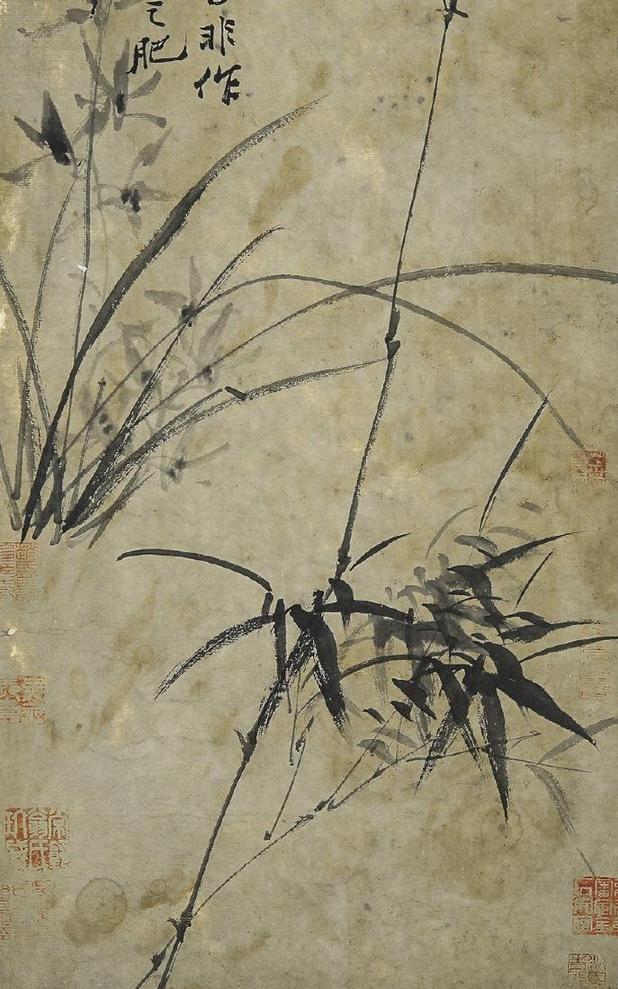 A Chinese Ink and Color Scrolling Painting Zheng Banqia - 4