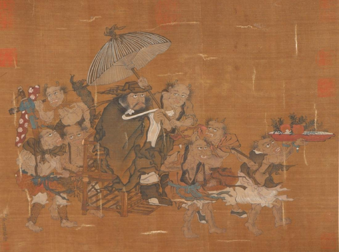 A Chinese Ink and Color Scrolling Painting on Silk - 2