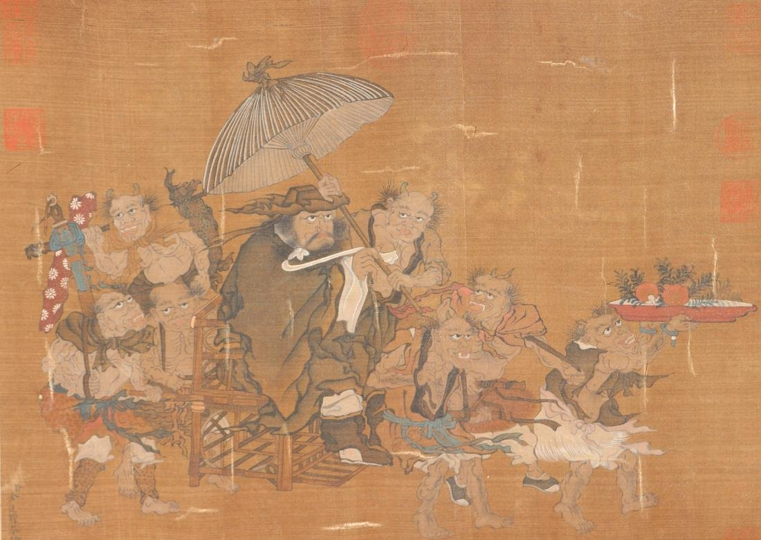 A Chinese Ink and Color Scrolling Painting on Silk - 5