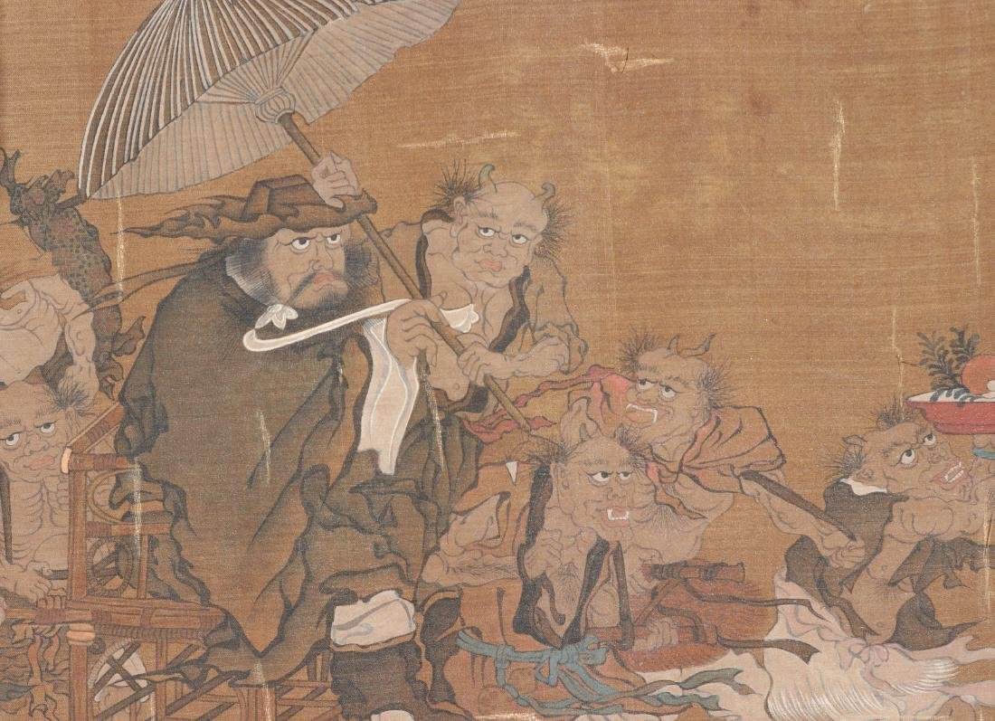 A Chinese Ink and Color Scrolling Painting on Silk - 9