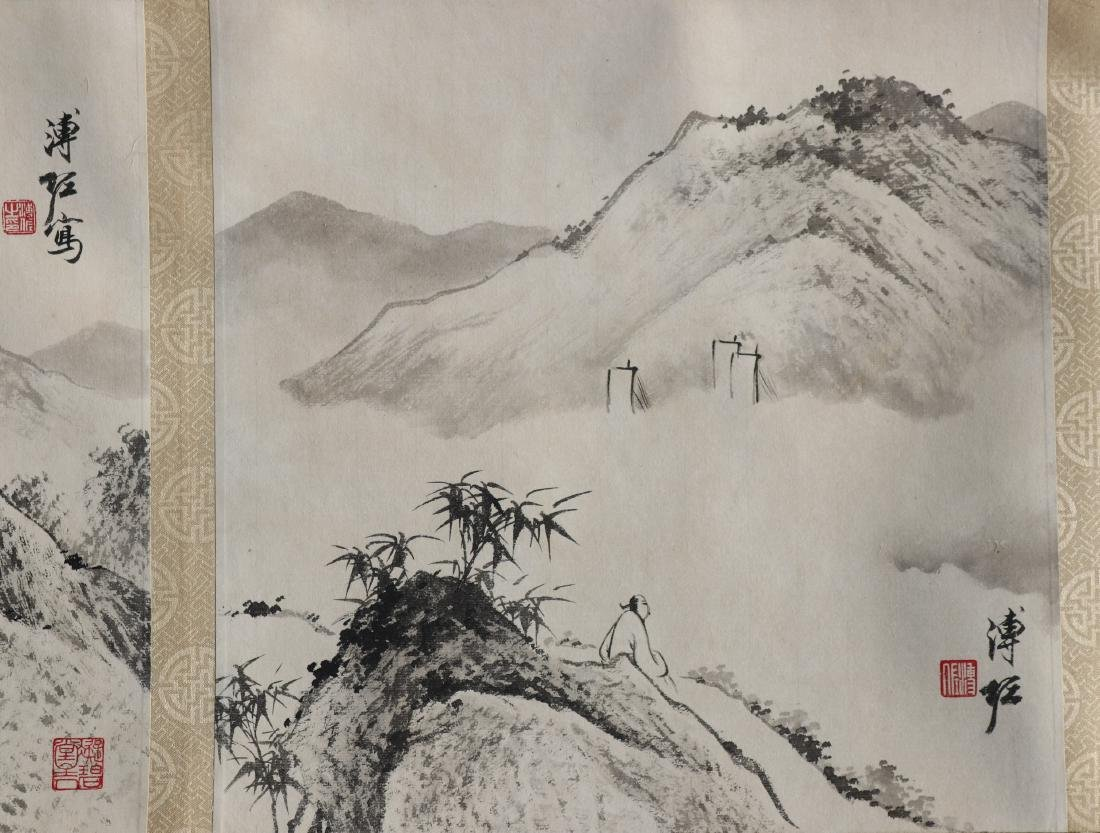 A Chinese Ink and Color Handscroll Painting Pu Zuo - 6
